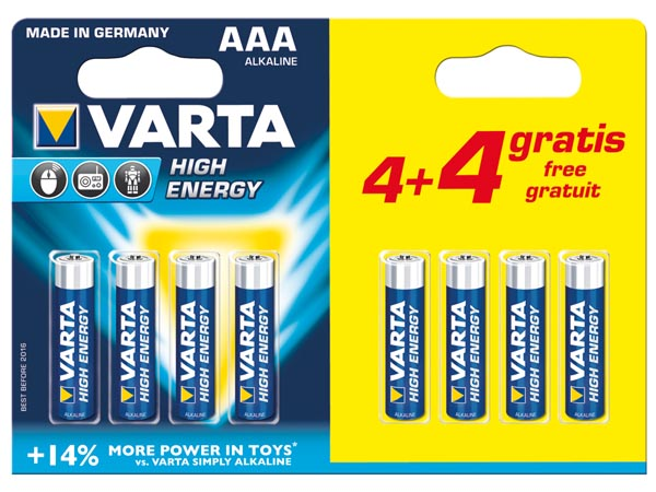 ALCALINA LR03/AAA 1.5 V HIGH ENERGY JUEGO PROMOCIONAL 4 + 4 uds. 4903.121.448 (Blister)