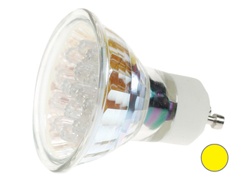 BOMBILLA LED GU10, COLOR AMARILLO - 240VAC