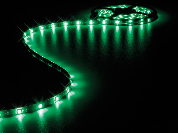 CINTA CON LEDs FLEXIBLE - COLOR VERDE - 150 LEDs - 5m - 12V